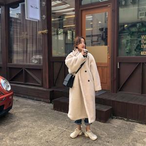 【アウター】韓国系厚め折り襟ダブルブレストスエードすね丈コート