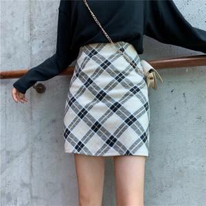 【ボトムス】韓国版レトロハイウエストAラインジッパー着やせ見えスカート