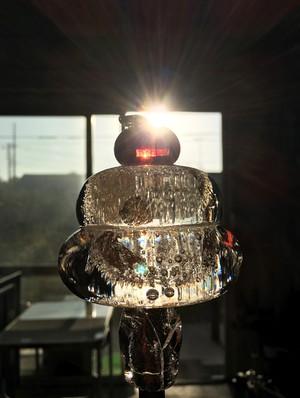 麻炭ガラス鏡餅「もっちり」(小)ヒマラヤ産原種麻炭使用