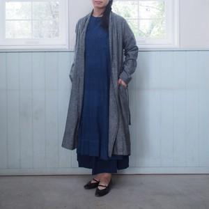 【CALICO】手織りノイルシルクガウンジャケット ブラックシャンブレー