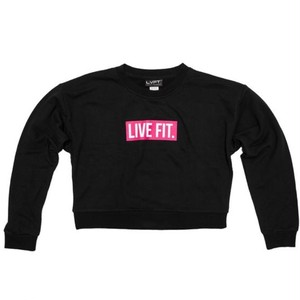 LIVE FIT Block Crop Crewneck- Black/Pink