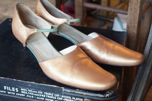 DRIES VAN NOTEN copper d'Orsay strap Pumps