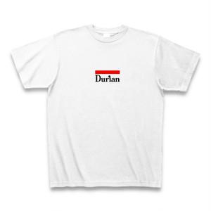 送料無料 ドリアンTシャツ Durian 赤黒ロゴ ホワイト おもしろい パロディTシャツ【DTAKLW】