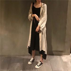 長袖ロングシャツ+エレガントなロングドレス