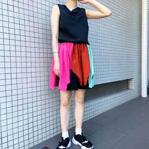 CaNARi original remake silk tunic onepiece -pink × red-