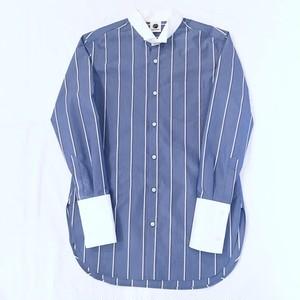 『GEN IZAWA』ロングドレスシャツ(ブルーストライプ)