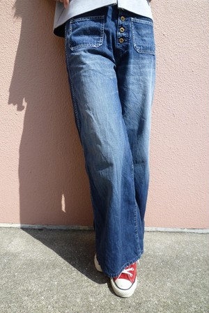 【No. BSL803 Color. 07 Indigo Dark】 Womens Wide Flare Denim
