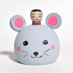 ネズミえじここけし 約2寸 約6.5cm 山谷レイ 工人(津軽系)#0251
