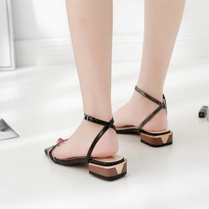 【sandal】 2018 new Korean fashion  thick  retro chic open toe sandal