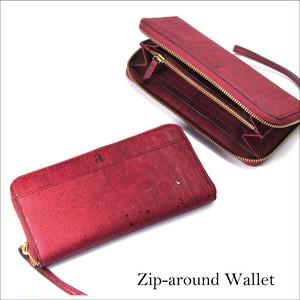 VEGAN ZIP-AROUND WRISTLET  MAROON / ラウンドファスナー 長財布 赤 コルク製