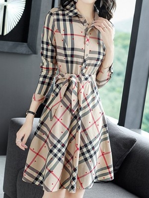 【dress】Temperament plaid formal dress