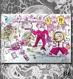 B6原画・着色ドローイング『殺人者を見たら!』