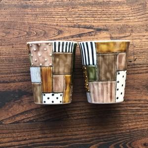 板原摩紀さんのパッチワークカップ(茶)
