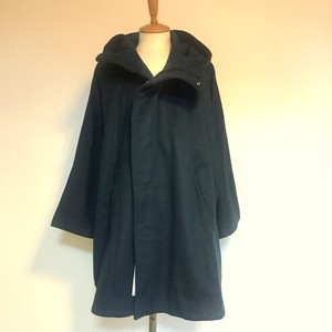 Melton Wool Hooded Poncho Blue Green
