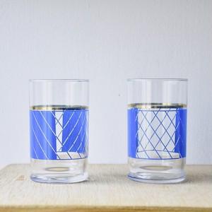 【幾何学ガラスコップ-blue-】タンブラー  昭和レトロ