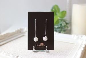 [silver999] 純銀クロッシェボールチェーンピアス