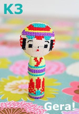 Kit No.3 Kokeshi x cross stitch 3