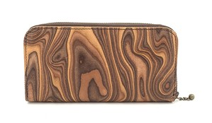 MAGNET Round Fastener Long Wallet  Wood Brown