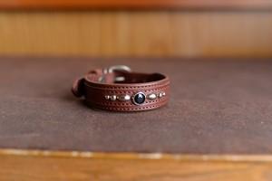 トイプードルのブラウンの革の首輪 tp002