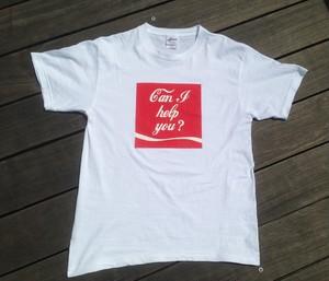 【ペアセット】「Can I help you?」<ホワイト>Tシャツ005