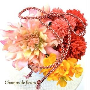 《着物用髪飾り》サーモンピンクと赤、オレンジ色の華やかなパーツセット