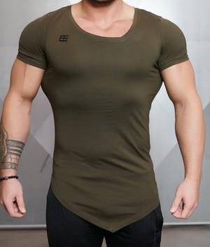 BODY ENGINEERS ボディエンジニア Tシャツ アシンメトリーYUREI  Vネック カーキ【ARMY green】 メーカー直輸入品!