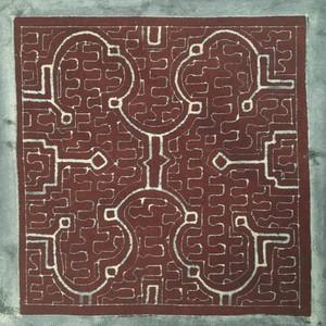 泥付き布 中型30-4 額装用 シピボ族 アマゾンの泥染め