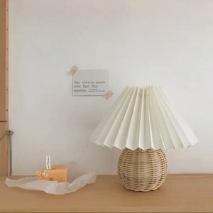 【特価・送料無料】rattan pleats shade lamp / ラタン プリーツ ライト シェード ランプ 照明 スタンド 韓国