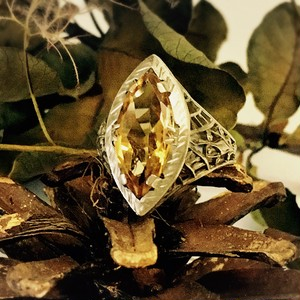 Citrine  Filigree White Gold Ring