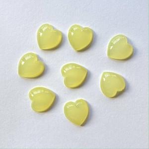 黄色ハートの半クリアカボションパック(8p)