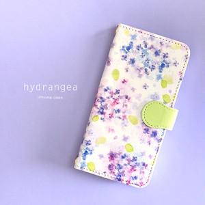 手帳型 iPhone ケース 【紫陽花】 iPhone5/5s/SE/6/6s/7/8/X/XS