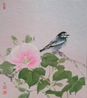 水墨画 色紙「 芙蓉とハクセキレイ」furog.white wagtail