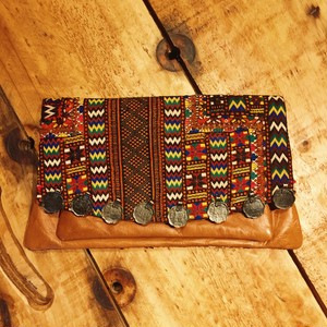 vintage textiles clutch bag (brown leather C)