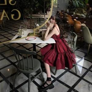 wine red flare dress