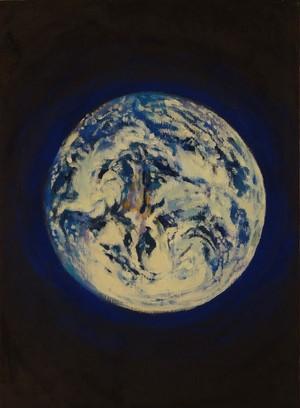 地球 アクリル画 手描き