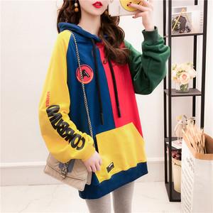 【tops】パーカー配色人気切り替えフード付き長袖ファッションゆったり