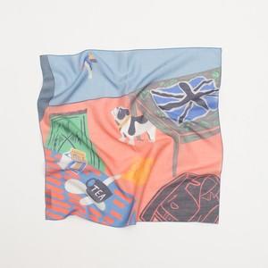 Silk Cotton 'Camden' Peach リング付きミニスカーフ