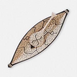 S029 SHIPIBO WOODCARVING シピボ族の木彫のカヌー形のトレイ Lサイズ