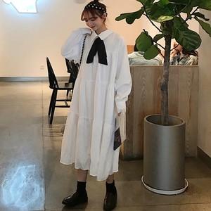 【ワンピース】韓国風春秋レトロ森ガールボウタイ折り襟長袖すね丈ロングワンピース