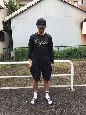 kyus+迷彩柄ドライロングスリーブTシャツ   ブラック