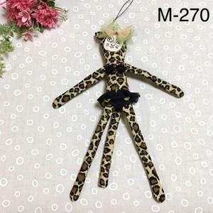 ヒョウちゃん・ストラップ・人形(ドットスカート)M-270