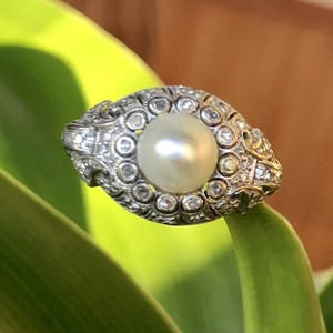 Natural Pearl Diamond Ring