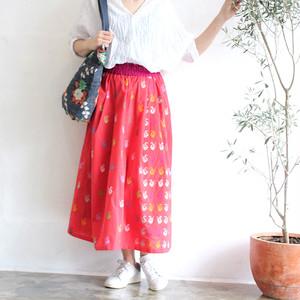 ミャンマーの手織り綿ギャザースカート【ダック柄コーラルレッド】