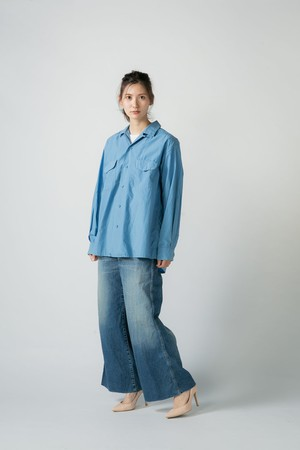 【No. BSL803 Color. 06 Indigo Light】 Womens Wide Flare Denim
