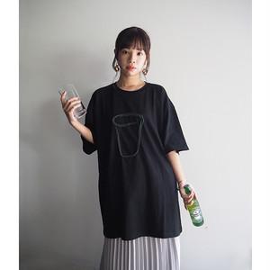 ビッグシルエットTシャツ(グラス)Black×Green