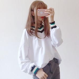【トップス】韓国系長袖VネックプルオーバーTシャツ24132975