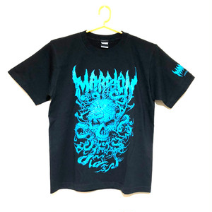 【Cotton100%】ahot×marrionapparel「SKULL TENTACLE」 TEE (Black×Blue)
