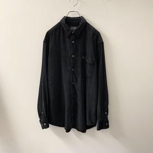 DKNY 光沢ブラック シャツ 細畝 size L メンズ 古着