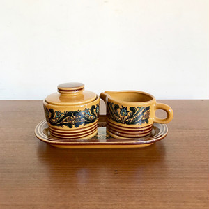 """GERZ"" Vintage Pottery Milk & Sugar Mini Plate Set 70's 西ドイツ"