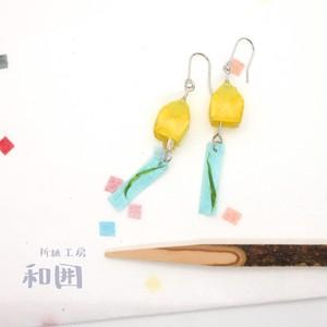 浴衣が着たくなるイヤアクセ【004】和紙折紙の風鈴ピアス・イヤリング